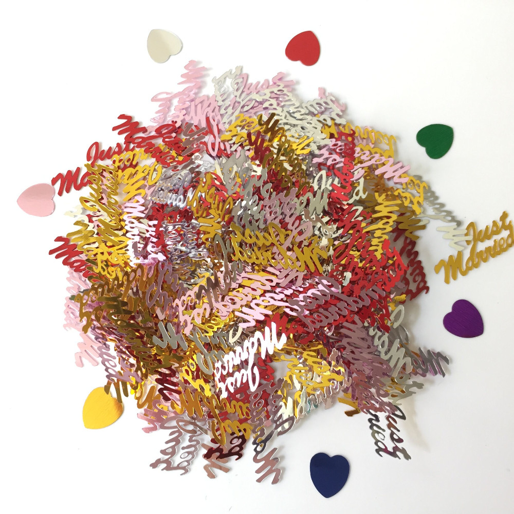 150g Multi Colors Love Heart Just Married Wedding Anniversary Party Confetti Marriage Engagement Table Scatters Sprinkle Decors