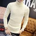 2016 Novos Homens Da Moda Camisola de Malha Pullover Outono Inverno Mens Casual Sólidos Blusas de Gola Alta Puxar Homme