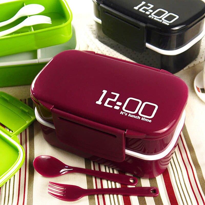 대용량 1400ml 더블 레이어 플라스틱 도시락 상자 12:00 전자 레인지 벤토 박스 식품 용기 도시락 상자 BPA 무료