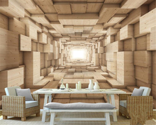 beibehang wallpaper for walls 3 d papel de parede 3D solid wood space background wall home interior wallpaper fashion modern