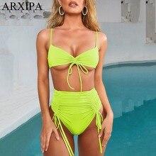 ARXIPA 2019 Sexy High Waist Bikini Set Ruched Women Swimsuit Lace Up Swimwear Bandeau Thong Beachwear Bandage Solid Neon Green