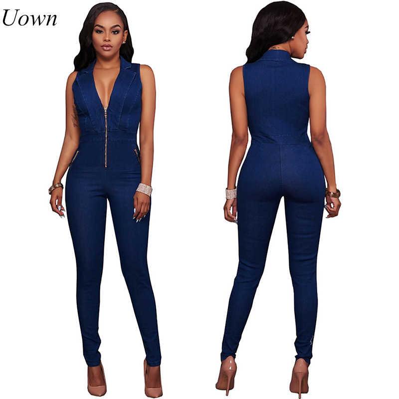 Женские джинсы комбинезоны джинсовые длинные штаны сексуальный глубокий v-образный вырез обтягивающий костюм комбинезон для девочек без рукавов Клубная одежда боди комбинезон на молнии