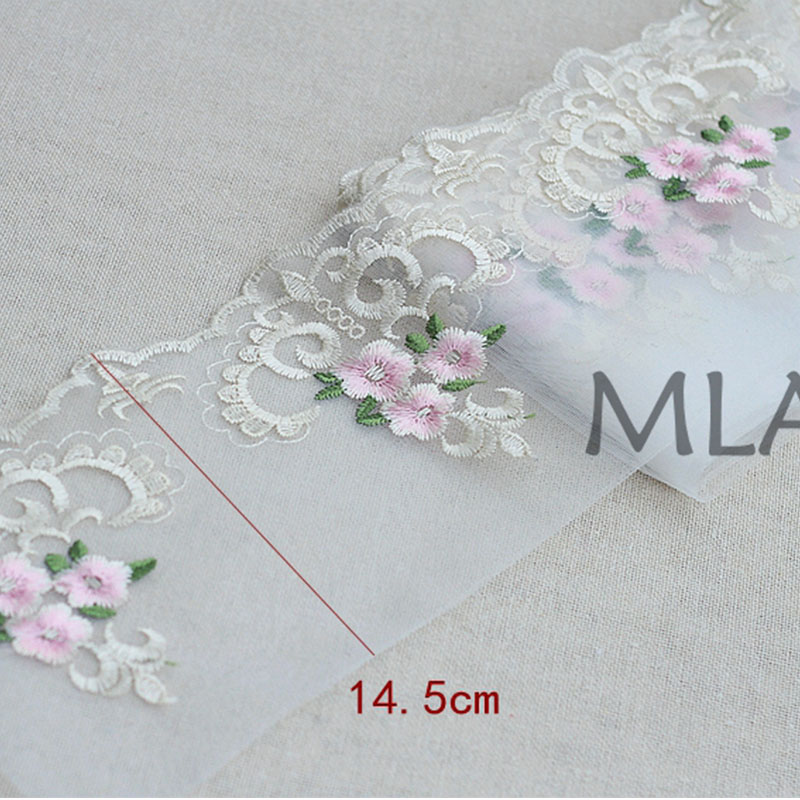 2Yard Lot Rose Exquisite Embroidered Lace Tri Lace Fabric Quality Lace Ribbon DIY Craft Sewing Dress Clothing Accessor in Lace from Home Garden