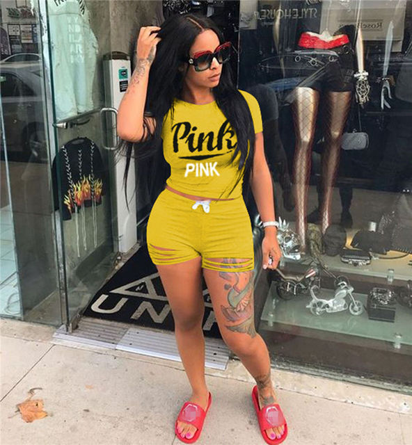 Summer 2pcs Tracksuit Letter Print Women Set Fashion Outfit Casual Short Sleeve Hollow Out Shorts Pant Two Pieces Suits Dropship