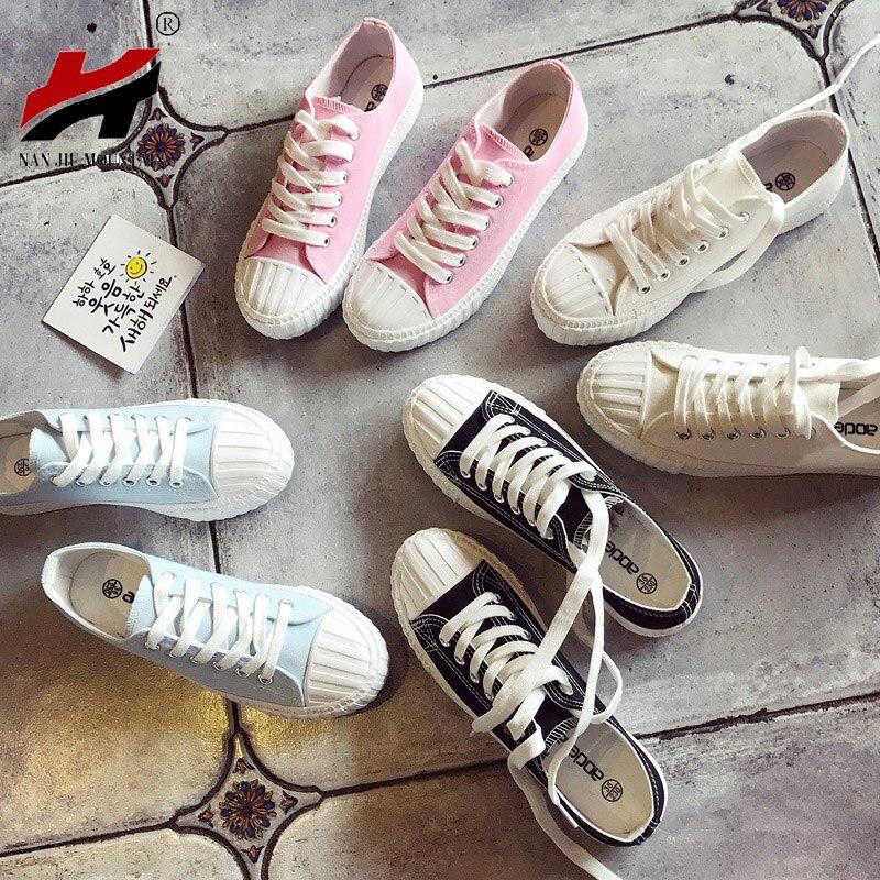 2018 Nouvelles Femmes Chaussures de Toile Chaussures Femme Printemps Et D'été Blanc Casual Chaussures Femme Étudiants Sneakers