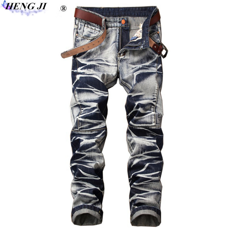 Male straight tube vintage jeans, slimming, making old, European version, middle waist wrinkled jeans,high quality,free shipping