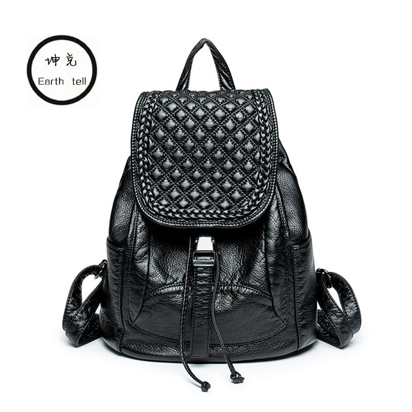 KUNDUI New Women PU Leather Backpack Brand Ladies Fashion Backpacks For Teenagers Girls School Bags Computer Travel Bag Mochila 2017 new fashion backpacks men travel backpack women school bags for teenagers girls pu leather preppy style backpack
