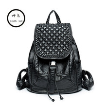 KUNDUI New Women PU Leather Backpack Brand Ladies Fashion Backpacks For Teenagers Girls School Bags Computer Travel Bag Mochila