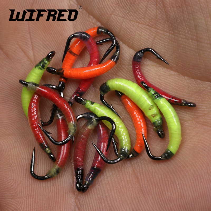 Wifreo 6pcs #8 Garden Worm Fly Earth Worm Fly Trout Perch Bluegill Whitefish Fly Fishing Nymph Bugs Ice Fishing Rasin Fly Lures