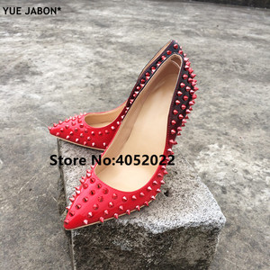 Image 4 - YUE JABON New Shoes Spike Heels Red Patent Leather Stiletto Pumps Shoes Rivets Studs Lady Thin High Heels Shoes Party Dress Shoe