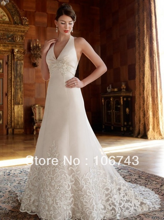 free shipping customized 2018 new style Sexy bridal Custom size embroidery halter white and lvory flowers long   bridesmaid     dress