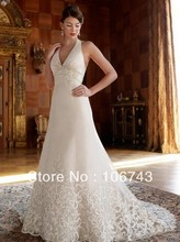 free shipping customized 2013 new style Sexy bride Custom size embroidery halter white and lvory flowers long wedding dress