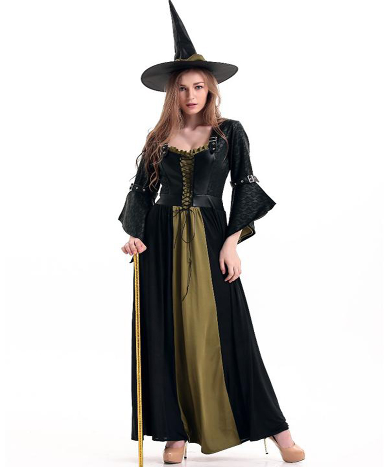 Fascinating New Halloween Witch Costume Adult Black Corset Vest and Fancy Dress Sorceress Cosplay Dress with Hat Outfits A416512