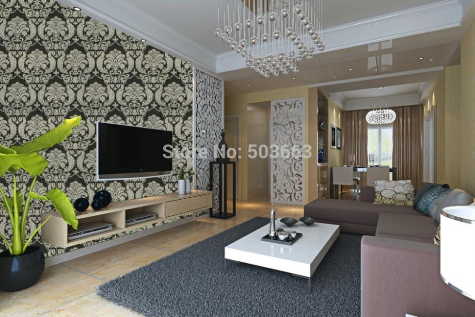 Luxury 2015 New Brand Vintage Gergous Black Classic Damask on Gold Brown Background Wallpaper brand new 2015 6 48 288 a154