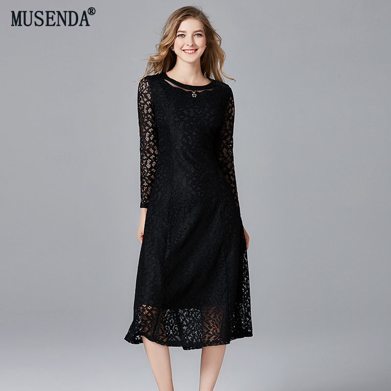 MUSENDA Plus Size Women Elegant Slim Lace Tunic Dress New 2018 Autumn Female Ladies Vintage Party Business Dresses Black