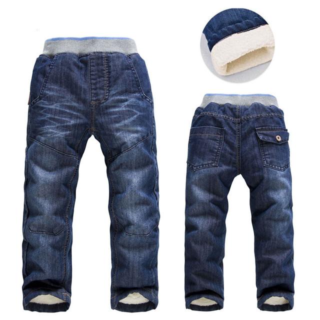 2016 Niños Pantalones Vaqueros de Los Niños de Invierno Gruesa Niños niños Jeans Pantalones de algodón recto cilindro Bebé Niños Pantalones de Jean Garcon