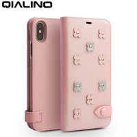 QIALINO Lovely Genuine Leather Pink Phone Cover for iPhone X/XS Cute Sakura Flip Case for Girl or Lady for iPhone XR/XS Max