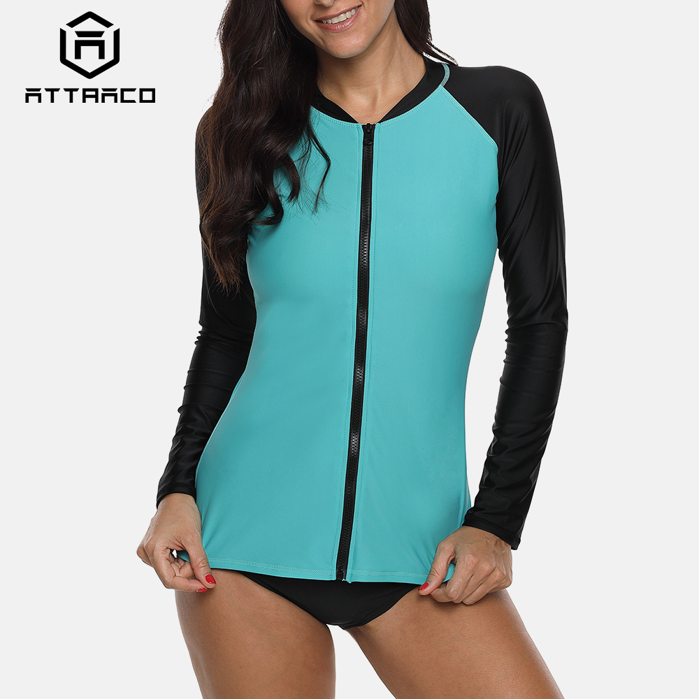 Attraco Rashguard Swimsuit Women Long Sleeve Zipper Running Shirt Hiking Shirts Surfing Top Rash Guard Zipper UPF50 Swimwear in Rash Guard from Sports Entertainment