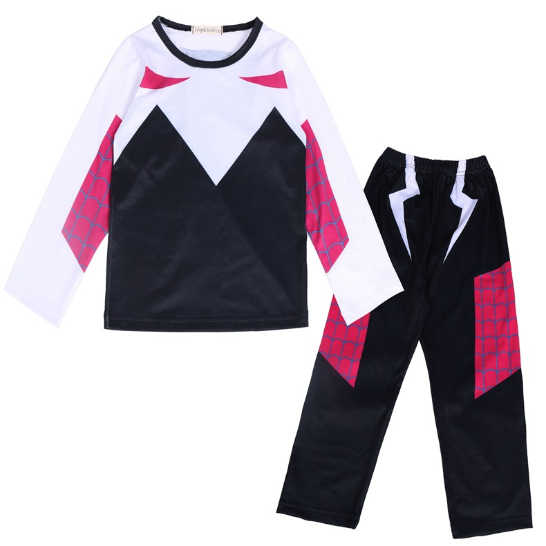 Spider-Man: Into The Spider-Verse Gwen Stacy Cosplay Costume Kids Boys And Girls Spider-Man Fashion Printing Pajamas Cosplay