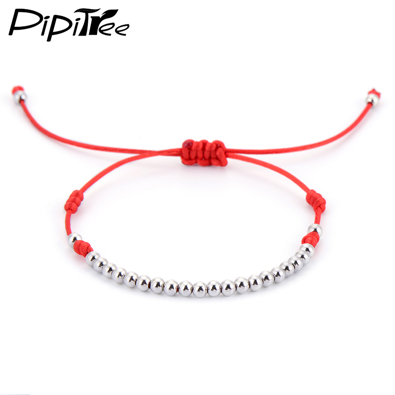 Classic 4mm Copper Round Beads Bracelets Red String Macrame Braided Bracelets For Men Women Jewelry Gift High Quality Brand  bead