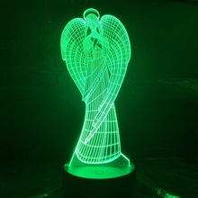 Best Baby Led Nightlight Angel Night Lamp for Kids Bedroom Sleeping 3D Illusion Child Birthday Gift Light