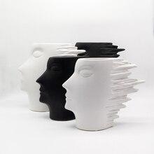 Resumo Vaso de Porcelana Branca Modelo de Cabeça o Nordic Minimalista Moderno Acessórios Para Casa Mobiliário Decoração Enfeites de Cerâmica