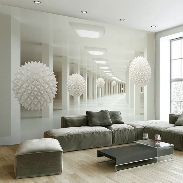 Wallpaper Modern Living Room Wallpapers: Modern Simple 3D Stereo Abstract Space White Sphere Mural