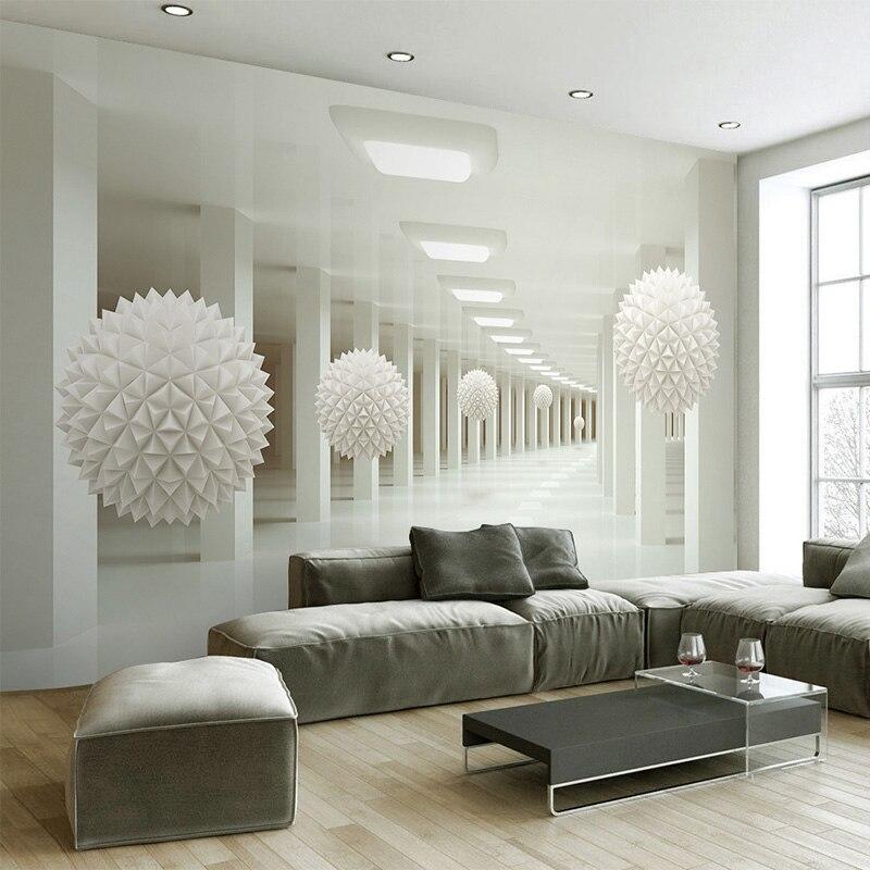 US $8.16 56% OFF Moderne Einfache 3D Stereo Abstrakte Raum Weißen Kugel  Wandbild Tapete Büro Wohnzimmer TV Sofa Hintergrund Wand Dekor Tapete 3  D-in ...