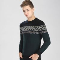 100 Wool Sweater For Men O Collar Jacquard Stripe Knit Coat Men S Sweater Winter Warm
