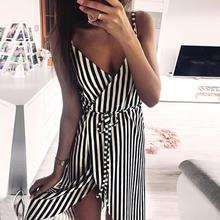 KANCOOLD dress Women Stripe Printing Sleeveless Off Shoulder