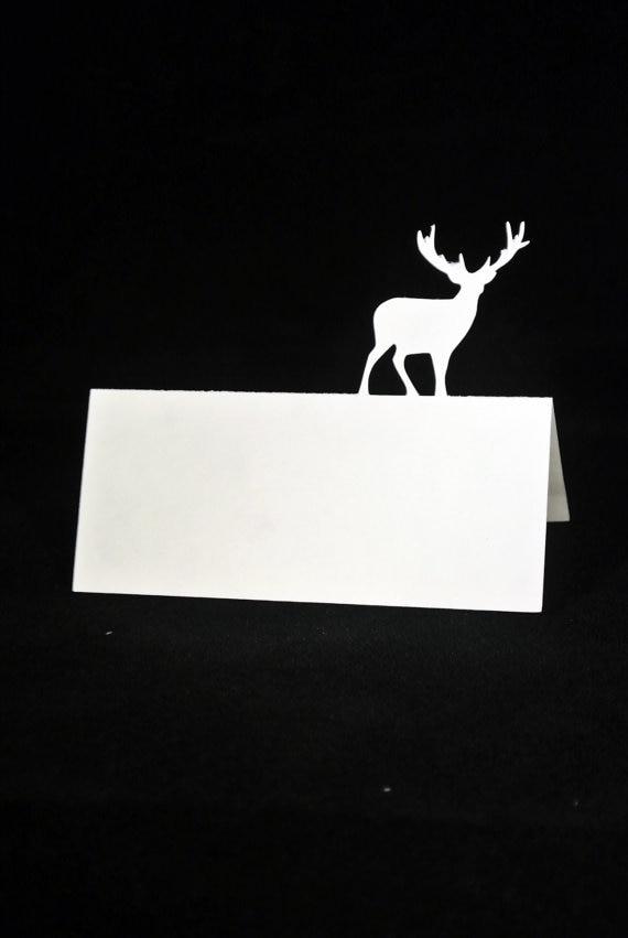 Bereidwillig Buck Mannelijke Herten Silhouet Tented Escort Nummer Plaats Kaarten Bruiloft Barrattoe Party Tafel Zitplaatsen Receptie Markers