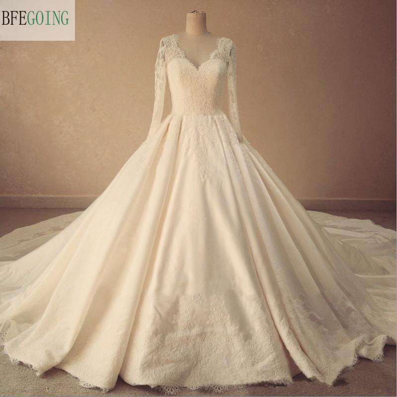 China Long Sleeves Wedding Dress Custom Made Lace Princess: Ivory Satin Lace A Line Floor Length V Neck Wedding Dress
