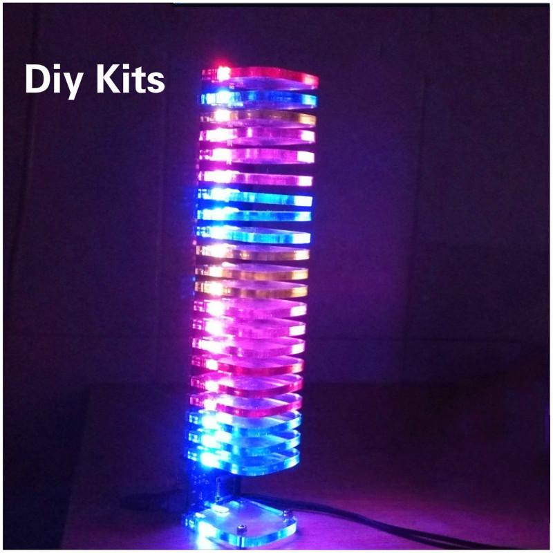 Aiyima LED Music Audio Spectrum Indicator 21 Level Display Electronic Diy Kits VU Meter Tower Diy Crystal Sound Column aiyima 5pcs 5v rgb led level indicator vu meter amplifier board diy mcu adjustable display pattern dual channel dual 24