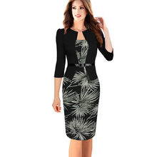 Womens Elegant Faux Twinset 3 4 Sleeve Belted Tartan Floral Print Patchwork Work Business Pencil Sheath