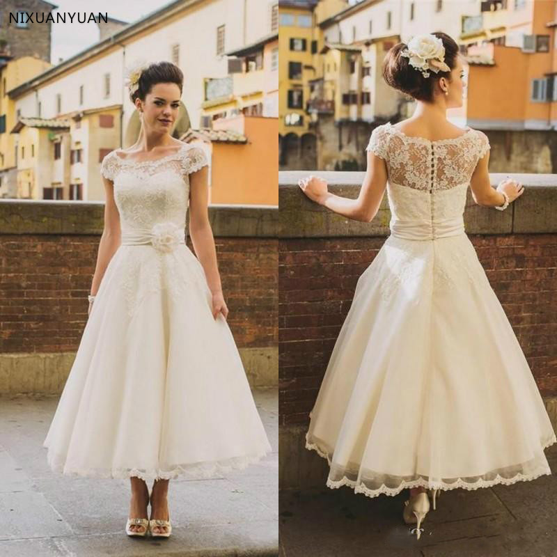 2020 1950s Vintage Ankle Length Wedding Dresses Cap Sleeve Jewel Neck Flower Belt A Line Lace Short Bridal Gowns Custom Made