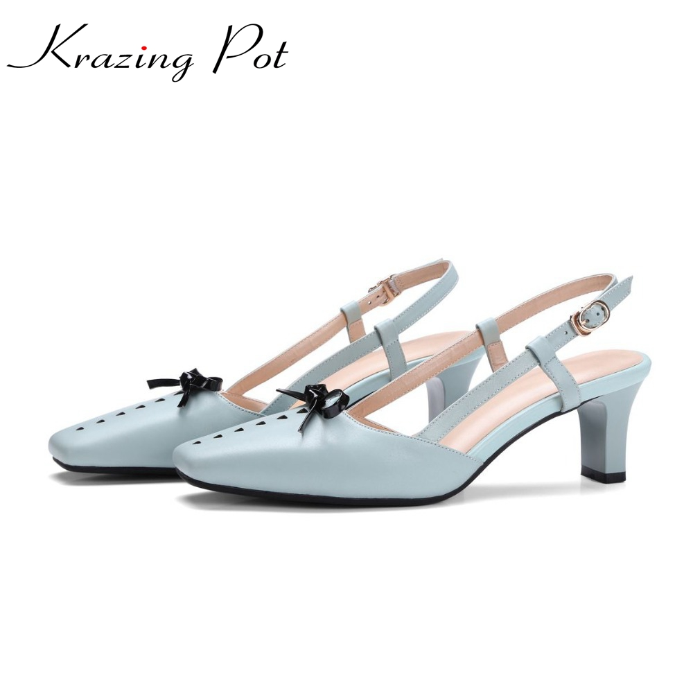 Krazing Pot genuine leather hollow slingback bowtie young lady sandals high heels elastic band blue color preppy style shoes L02 blue leather look skater skirt with elastic band