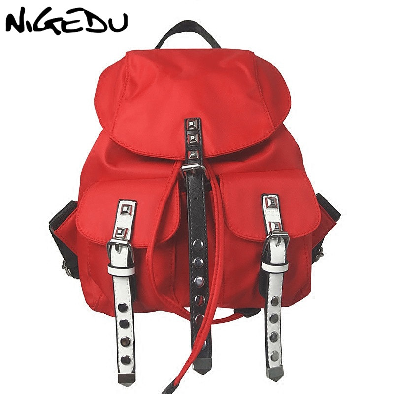Casual Oxford Travel Backpack women Rivet Rucksack Teenage Girls School Bags small backpack female black red Shoulder bag mochil стоимость
