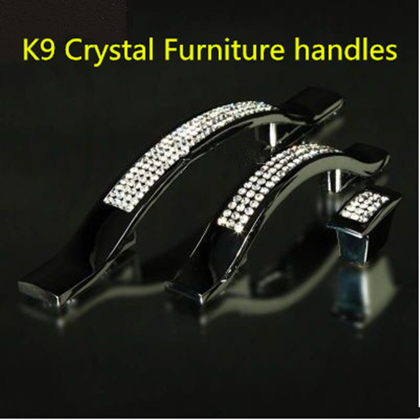 96mm deluxe fashion glass diamond furniture handle k9 crystal kitchen cabinet drawer pull knob shiny silver dresser door handle 96mm fashion deluxe glass clear black crystal villadom furniture decoration handle 3 8 gold drawer cabinet wardrobe door pulls