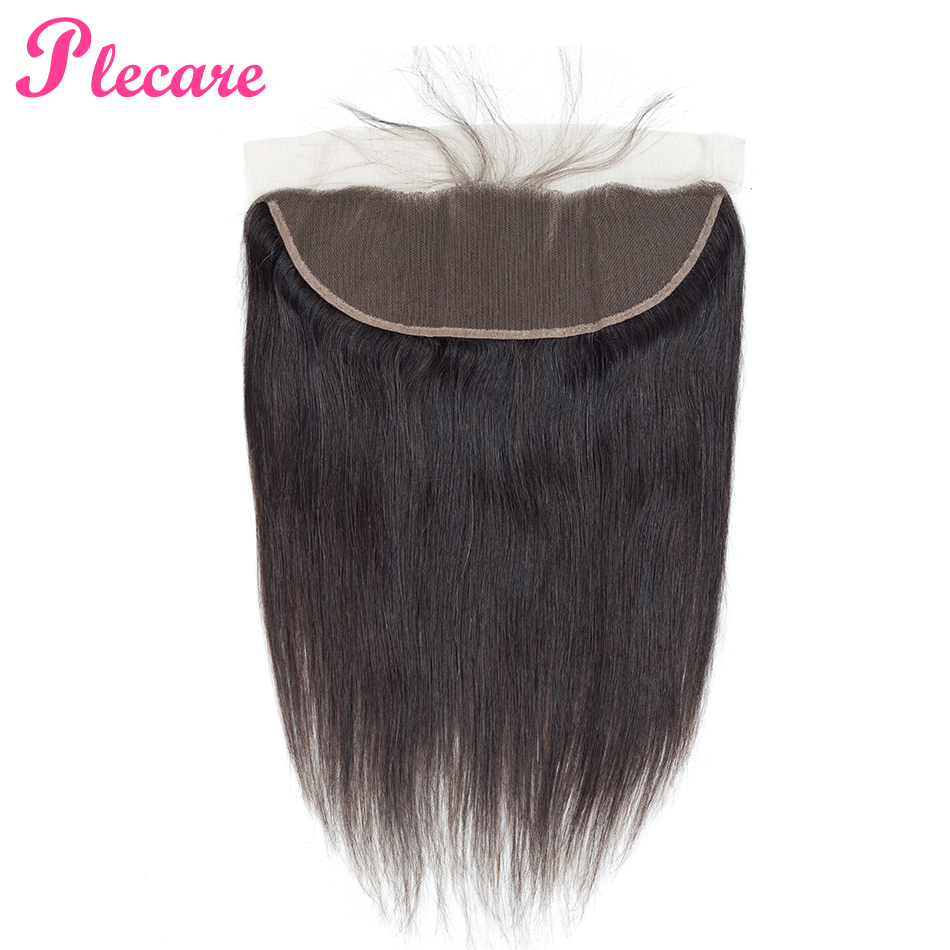 Plecare Lace Frontal Brazilian Straight 13*4 Lace Frontal Closure 1 Pcs Natural Color Non-remy 100% Human Hair Extensions