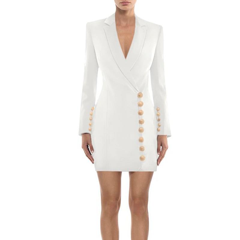 Haute qualité nouvelle mode 2019 élégant Designer robe femmes boutons en métal cranté col Slim robe-in Robes from Mode Femme et Accessoires    2