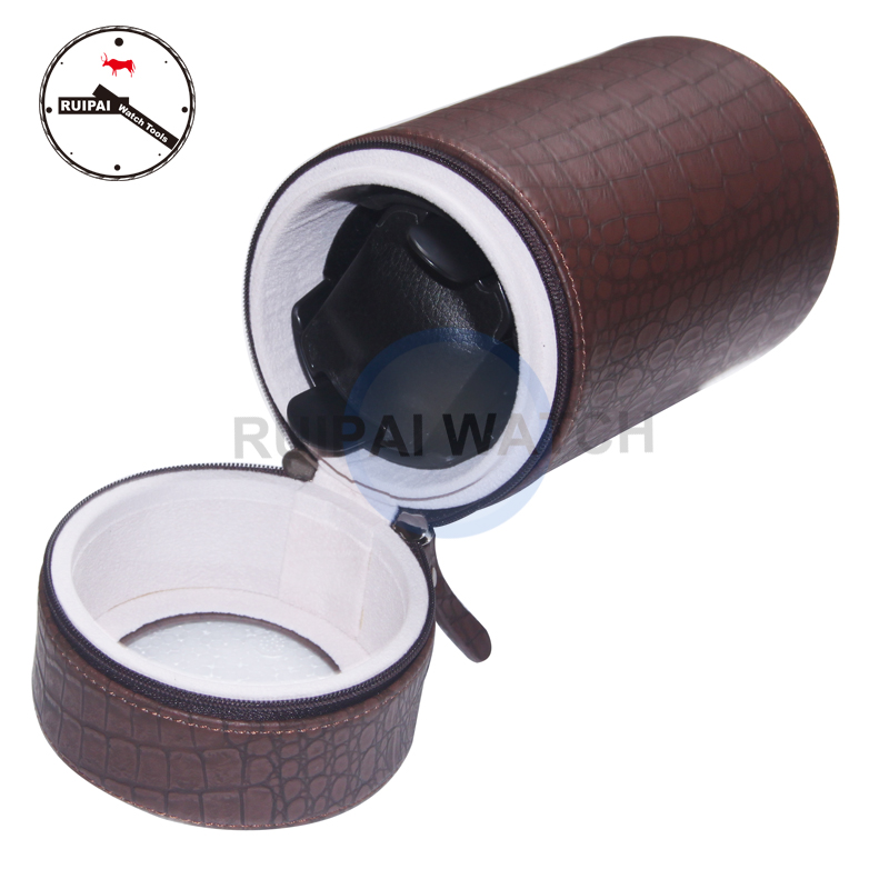 Brown PU Leather 3 Modes Automatic Self Winding Box,Watch Storage Tools Round Type Portable Watch Winder latest leather watch winder portable round type 3 mode aa batteries ac adaptor suitbale mini automatic watch winder