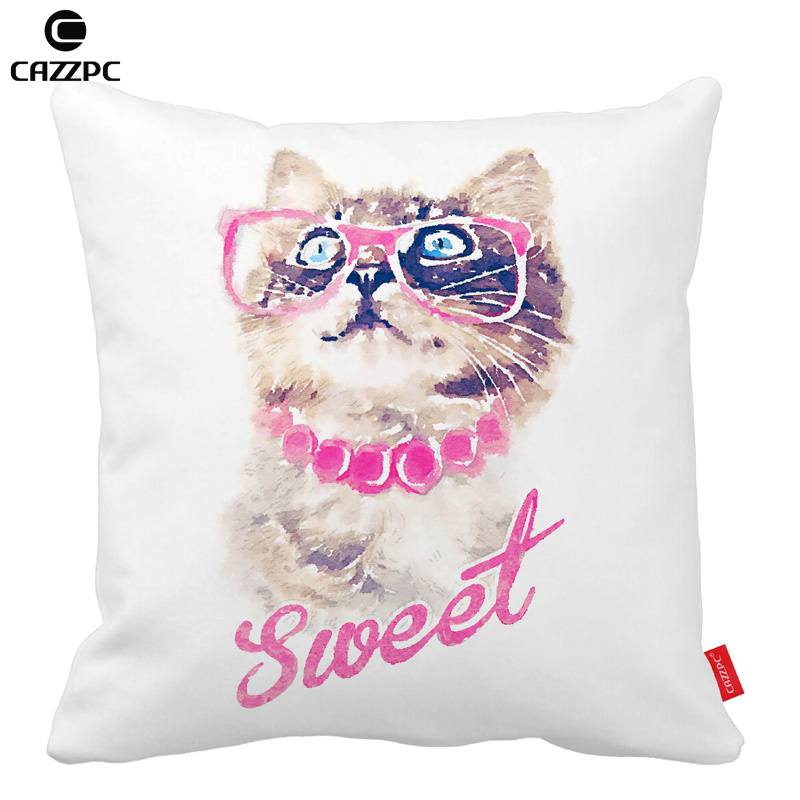 Hipster Watercolor Art Sweet Cute Cat Pattern Print Custom Home Decorative Throw Pillow decorate pillow sofa chair cushion