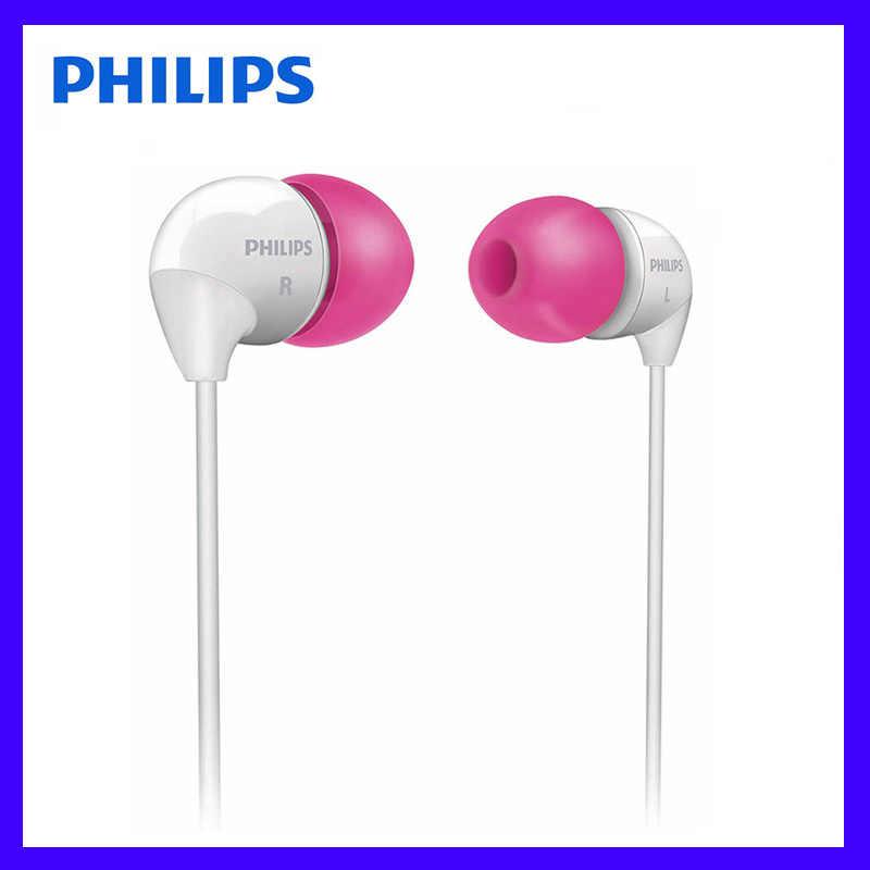 Philips SHE3501 słuchawki douszne z łbem płaskim słuchawki douszne 3.5mm przewodowe słuchawki słuchawki z super basem dla Xiaomi LG oficjalnych Certificatio