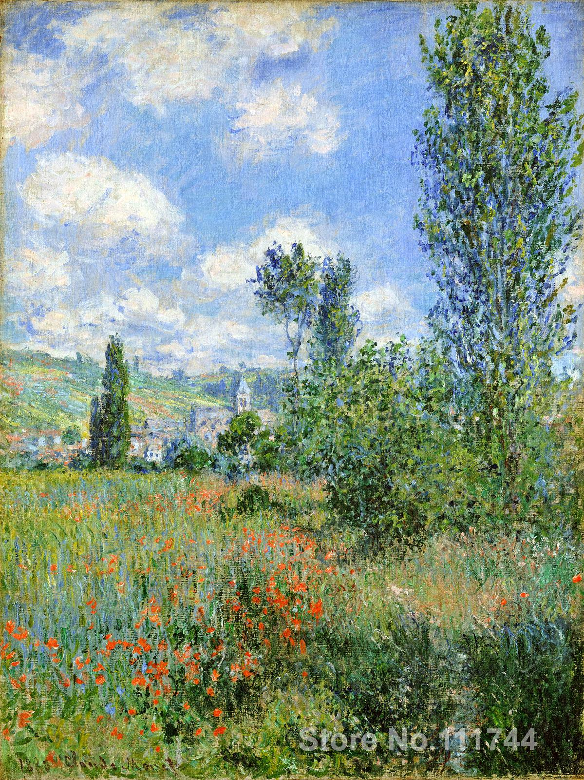 bathroom art Lane in the Poppy Fields Ile Saint Martin by Claude Monet paintings Home Decor Hand painted High qualitybathroom art Lane in the Poppy Fields Ile Saint Martin by Claude Monet paintings Home Decor Hand painted High quality