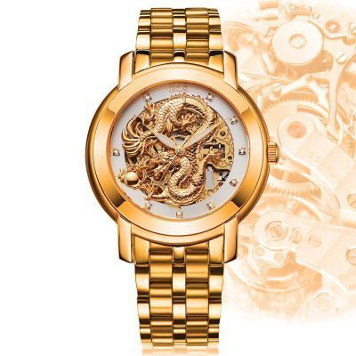ANGELA BOS 9007 Chinese Dragon Dimensional Sculpture Gold Stainless Steel Skeleton Automatic Mechanical font b Men