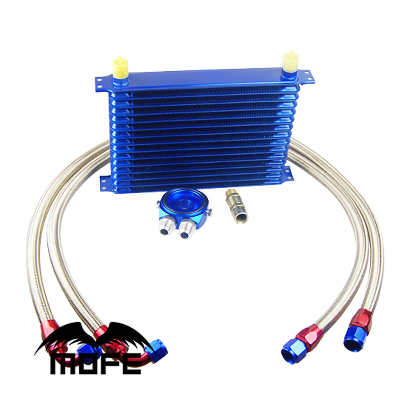 MOFE Racing Engine Transmission 15 Row AN10 Oil Cooler Kit With Oil Filter Sandwich Plate Adapter Blue free shipping thailand single pan with 6 barrels fried ice cream roll machine with refrigerant