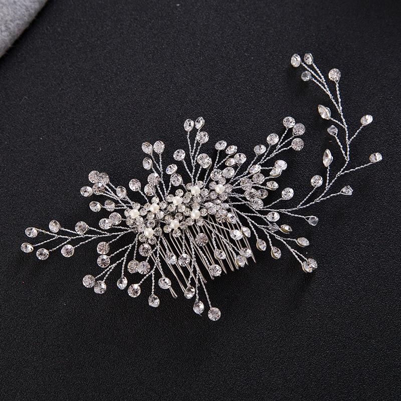 Fashion Hair Comb Wedding Hair Accessories Floral Headdress Romantic Handmade Crystal Wedding Bride Hair Jewelry Accessories