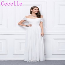 2017 Real Long Ivory Boho Bridesmaid Dresses Off the Shoulder Pleats  Chiffon Country Wedding Party Dresses Rustic Custom Made 2fa0a316ff29