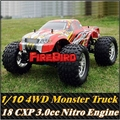 HSP BISON 1/10 Scale Nitro 3.0cc Potência Do Motor 4WD off-Road Monster truck, Rc Carro de alta velocidade para o Passatempo