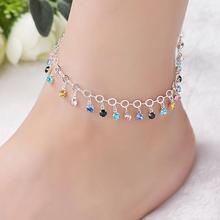 Shiny Colorful Rhinestone Tassel Chain Lucky Anklet Women Beach  Foot Jewelry creative gift